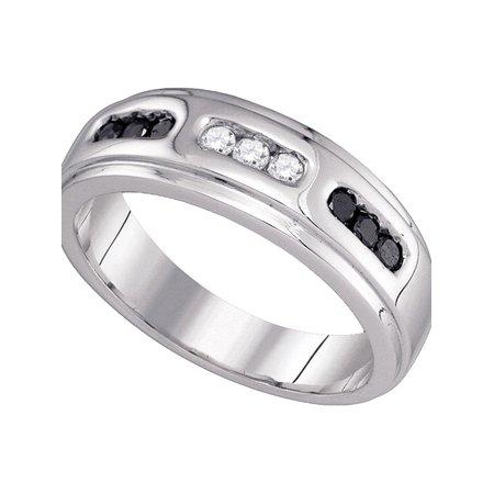 Wedding Anniversary Colors (10k White Gold Black Color Enhanced Diamond Channel-set Mens Wedding Anniversary Band Ring 1/3)