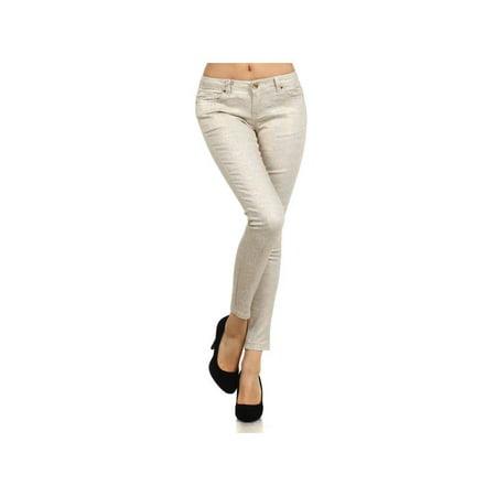 Bonage Fashion Designer Gold Snakeskin Print Women's Skinny Pants](Mc Hammer Gold Pants)