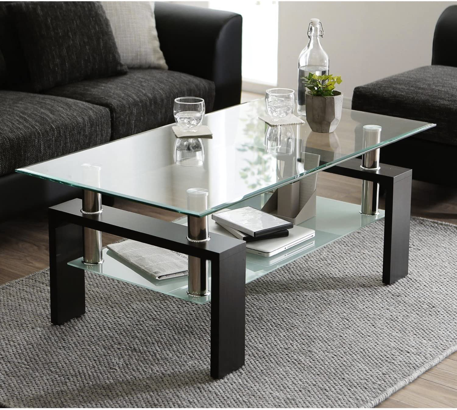 Glass Coffee Table with Lower Shelf, Clear Rectangle Glass Coffee Table,  Modern Coffee Table with Metal Legs, Rectangle Center Table Sofa Table Home