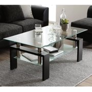 Glass Coffee Table with Lower Shelf, Clear Rectangle Glass Coffee Table, Modern Coffee Table with Metal Legs, Rectangle Center Table Sofa Table Home Furniture for Living Room, L5509
