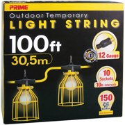 Prime 12/3 SJTW TTL Temporary Light String With Metal Cages, 100-Feet