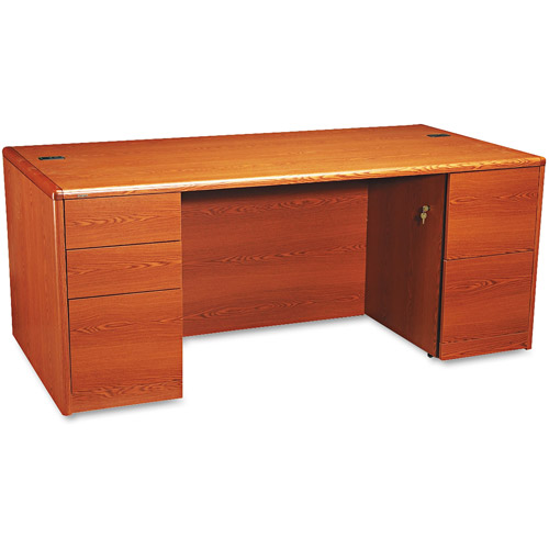 HON 10700 Double Pedestal Desk with Full-Height Pedestals, 72w x 36d, Mahogany