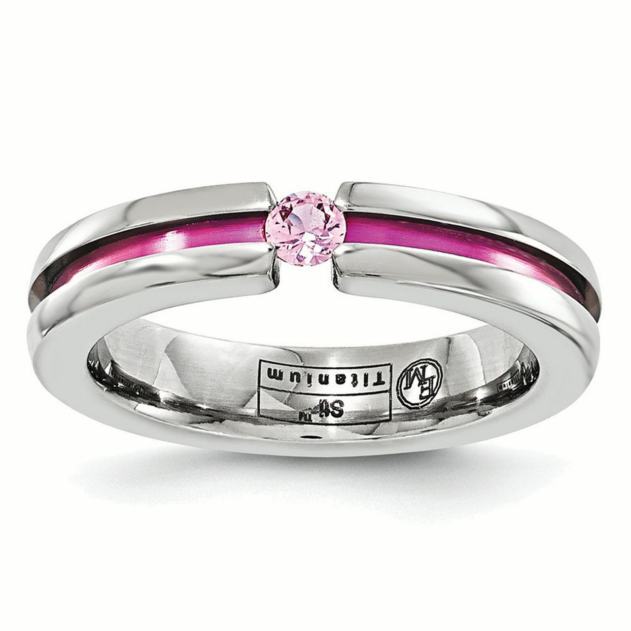 Edward Mirell Titanium Pink Sapphire & Anodized Grooved 4mm Band Ring EMR156 by