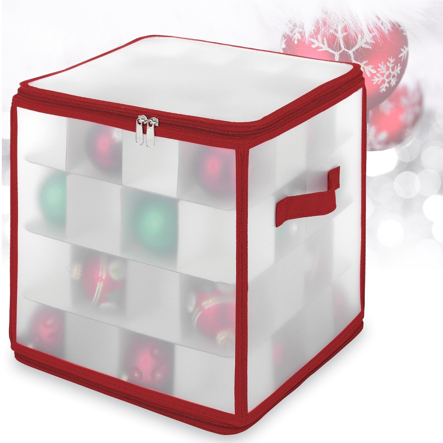 Frosted See-through Christmas Ornament Storage Box, 64 Co...