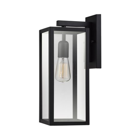 Globe Electric Bowery 1-Light Matte Black Outdoor Indoor Wall Sconce with Clear Glass Shade, 44176