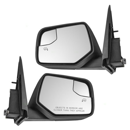 Pair Set Power Side View Mirrors Heated w/ Spotter Glass Replacement for Ford Escape Mercury Mariner & Hybrid 128-01814BL (Power Heated Pair Set)