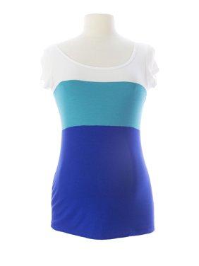 JULES & JIM Maternity Women's Color Block Top Medium White/Aqua/Blue