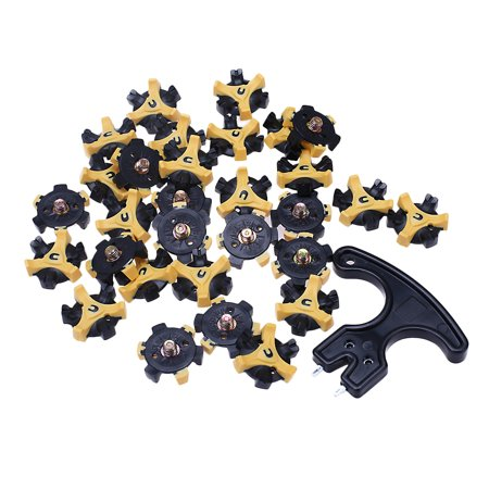 30PCS Golf Shoe Spikes Replacement Cleat with Removal Tool, Black &Yellow