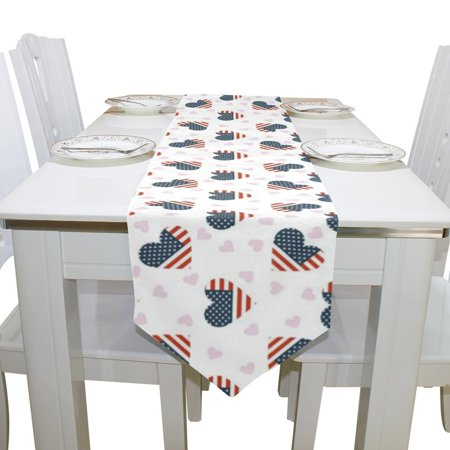 4th Of July Table Runner (POPCreation July 4th Independence Day American Flag Love Table Runner 13x70 Inches White Table Top)