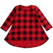 Baby Girls Red Plaid Dress Toddlers Long Sleeve Buffalo Plaid Christmas Outfits