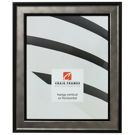 Craig Frames Atlas, Antique Pewter and Black Picture Frame, 12 x 18 Inch