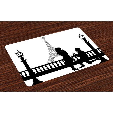 Engagement Party Placemats Set of 4 Paris Lovers City Wedding Proposal for Great Future Image Happiness, Washable Fabric Place Mats for Dining Room Kitchen Table Decor,Black and White, by Ambesonne