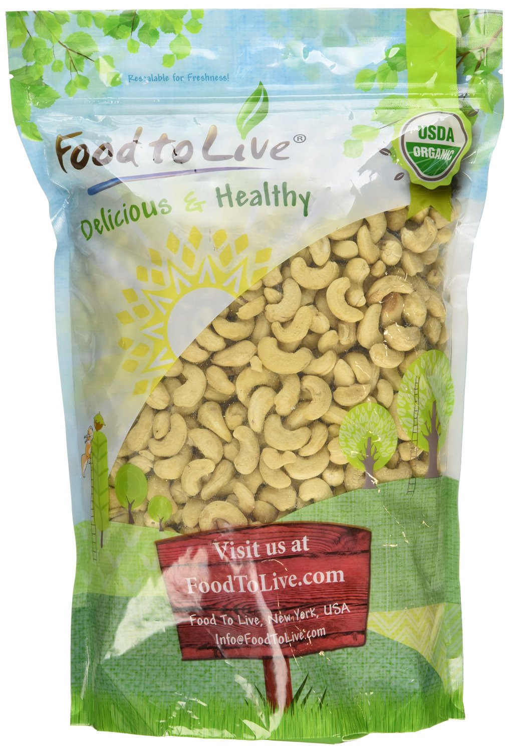 Food To Live Organic Cashews (Whole, Raw) (4 Pounds) by Food To Live