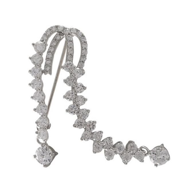 Dlux Jewels Rhodium Plated Sterling Silver White Cubic Zirconia Brooch & Pin