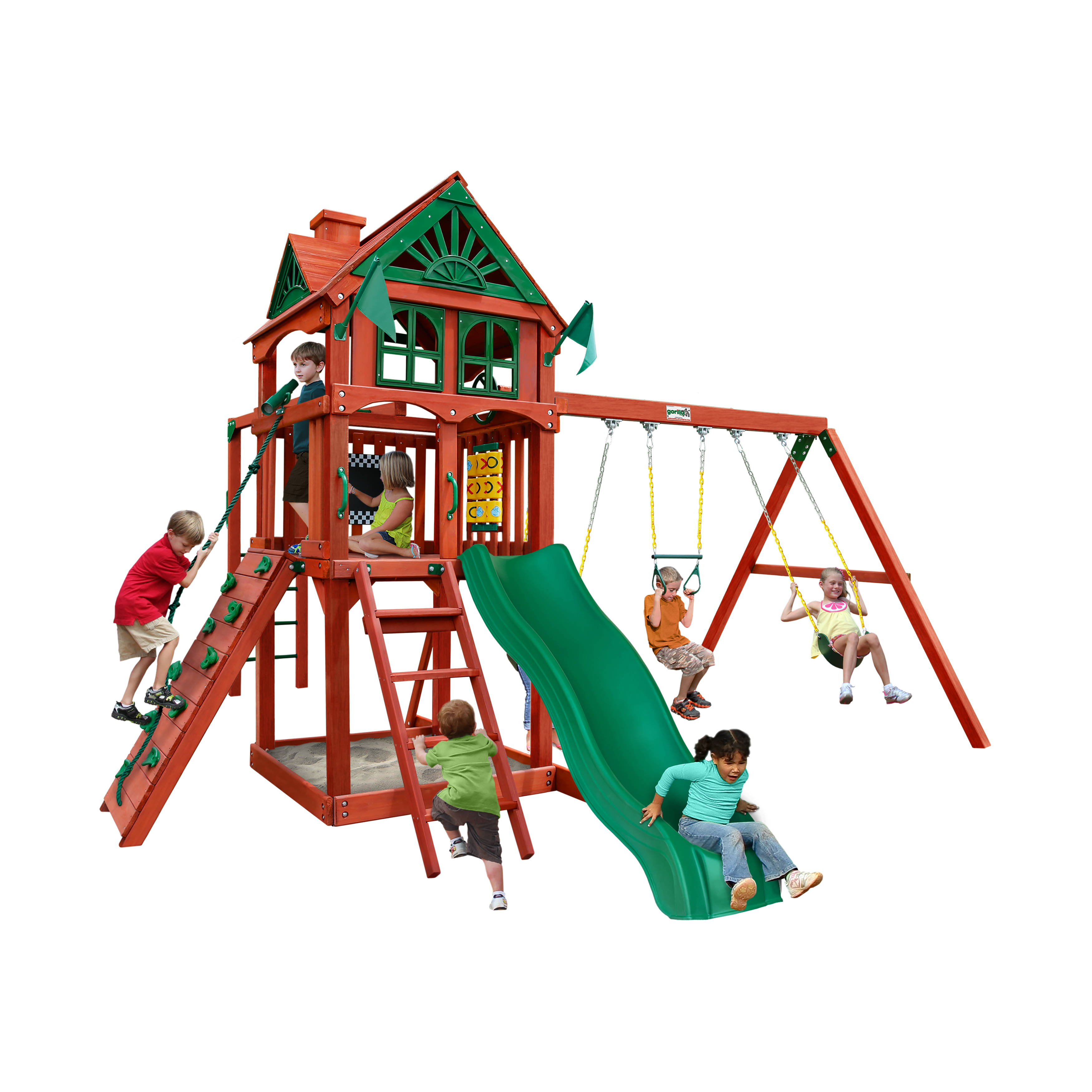 Gorilla Playsets Five Star Ii Wooden Swing Set With Monkey Bars