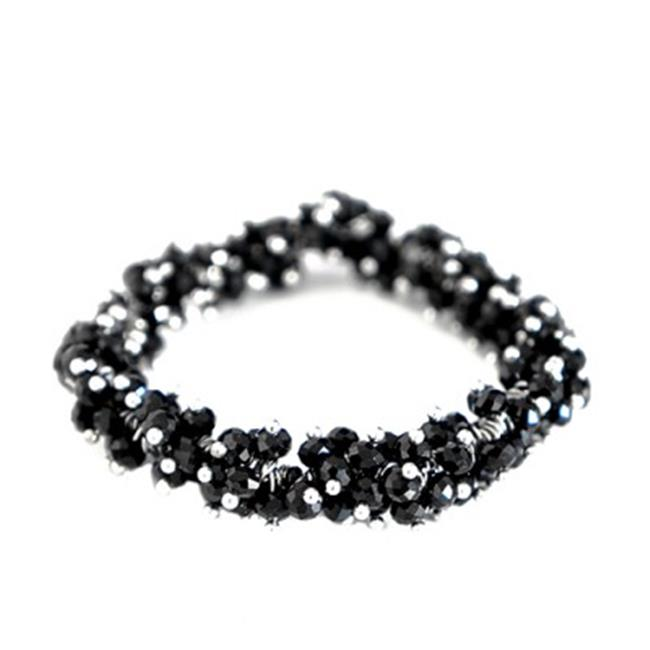 C Jewelry Black Jet Glass Crystal Seed Beads Stretch Bracelet