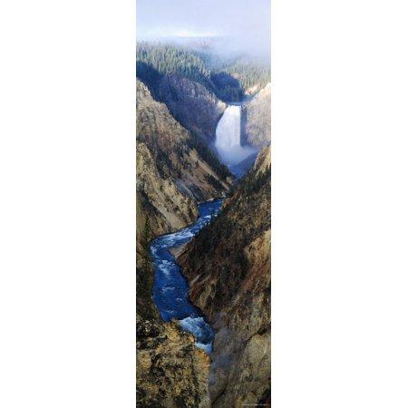 Waterfall Falling Into Stream Through a Canyon, Yellowstone National Park, Wyoming, USA Print Wall Art
