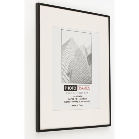 Displays2go Set of 2 - 16 x 20 Metal Picture Frames with Hangers for Portrait and Landscape Formats, Removable White Mat �  Polished Borders