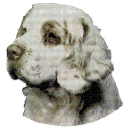 Clumber Spaniel Silhouette Dogs - Clumber Spaniel Dog Portrait Counted Cross Stitch Pattern