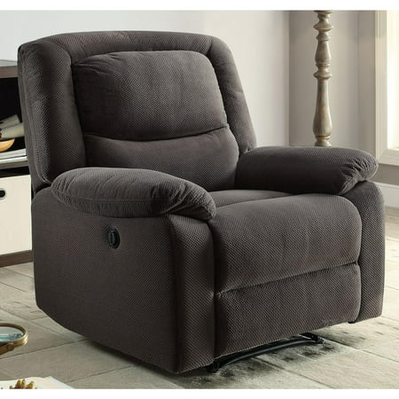 Serta Push-Button Power Recliner with Deep Body Cushions, Ultra Comfortable, Gray Fabric Power Podiatry Chair