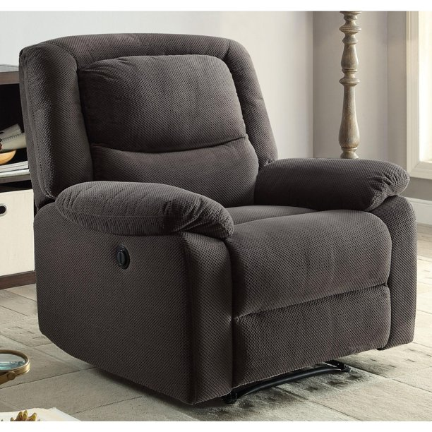 Serta Push-Button Power Recliner with Deep Body Cushions, Ultra Comfortable, Gray Fabric