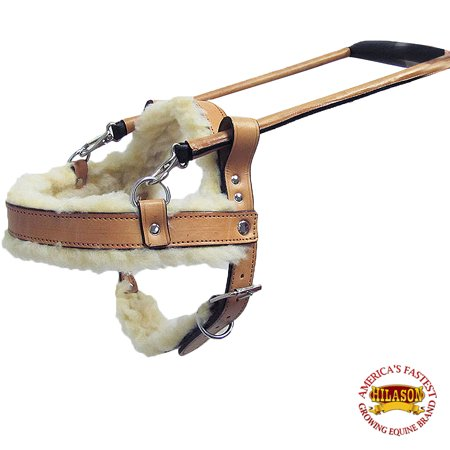 GH201-A HILASON TAN GENUINE LEATHER LARGE ASSISTANCE DOG HARNESS WITH HANDLE