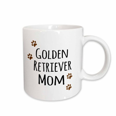 3dRose Golden Retriever Dog Mom - Doggie by breed - brown paw prints - doggy lover - proud pet owner love, Ceramic Mug, 11-ounce