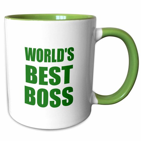 3dRose Worlds Best Boss - green text - great design for the greatest boss - Two Tone Green Mug, (Best The Boss 2)