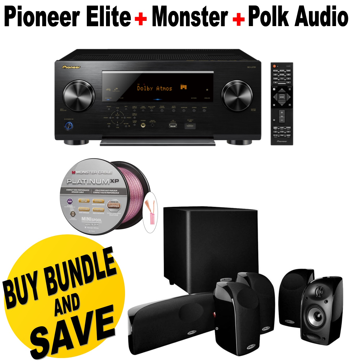 Pioneer Network AV Receiver Audio & Video Component Receiver,Black (SC-LX701) + Polk Audio 5.1 TL1600 Speaker System +