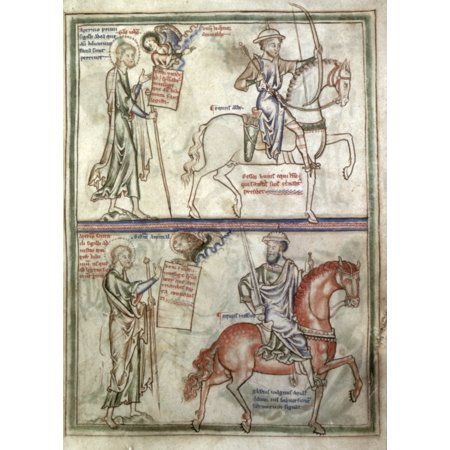 Four Horsemen 1250 Ndetail Of White And Red Horses Of The Four Horsemen Of Apocalypse From English Manuscript Illumination C1250 Rolled Canvas Art -  (24 x (4 Horses Of The Apocalypse Red Dead)
