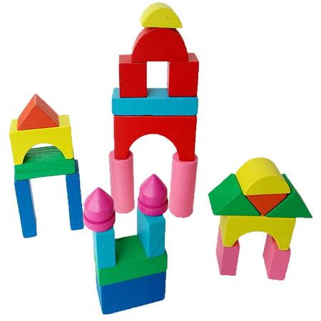 Kid Wooden Mini Castle Building Blocks Geometric Shape Educational Toys Game
