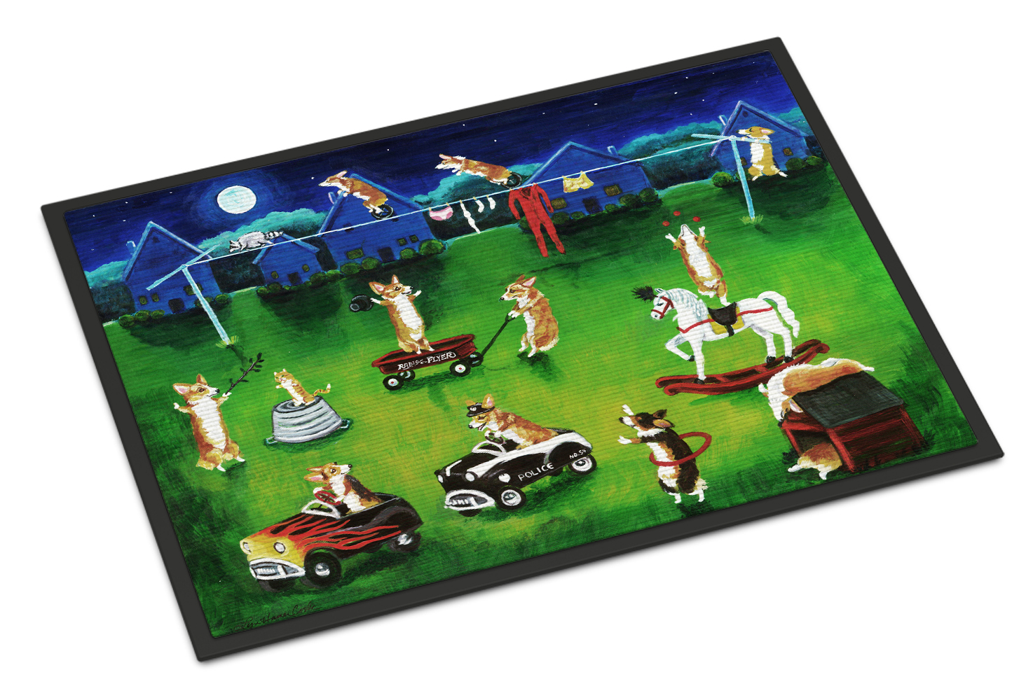 Corgi Backyard Circus Doormat by Caroline's Treasures