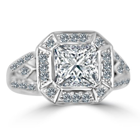 Important Radiant Center Classic Style Simulated Diamond - Sterling Silver Ring W/two 1CT. Triangular Sides Ring