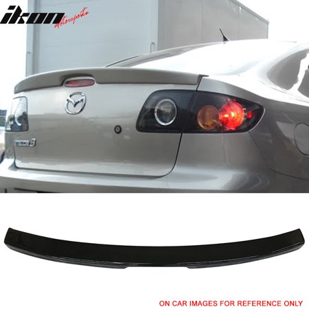 Fit 04-09 Mazda 3 Sedan Factory Flushmount Trunk Spoiler Painted #16W Black Mica