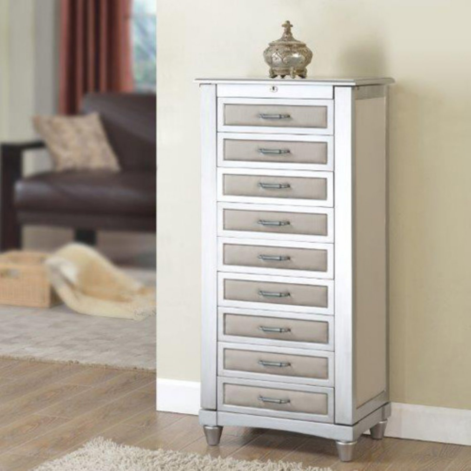 Nathan Direct Lauren Upholstered Jewelry Armoire