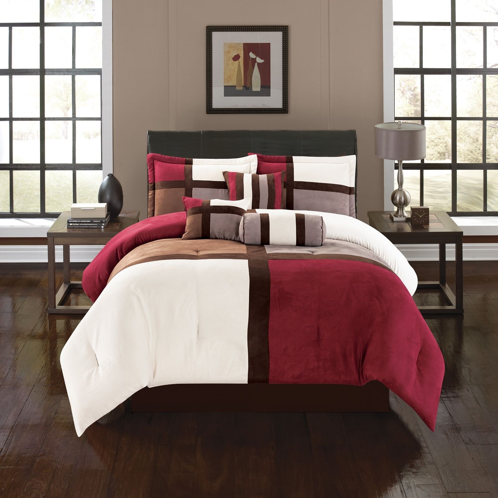 Luxurious Queen Size 7-Piece Comforter Set Alejandra Micro Suede Soft Bed in a Bag Patchwork Brown & Burgundy