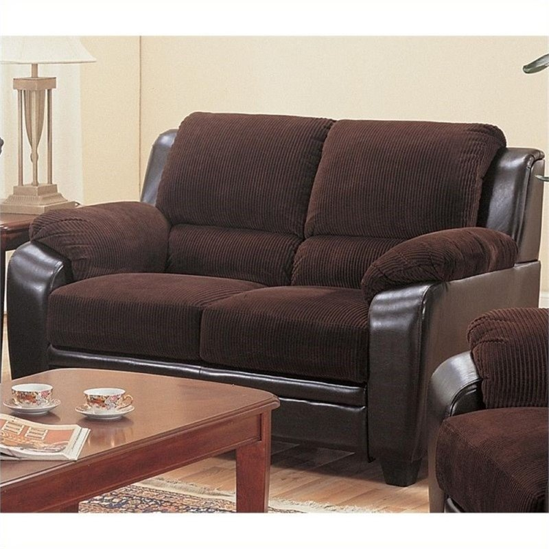Bowery Hill Faux Leather Stationary Loveseat in Chocolate