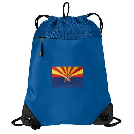 Arizona Flag Cinch Backpack Arizona Drawstring Bag String Pack Mesh & Microfiber - Two Sections