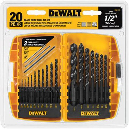 DEWALT DW1177 20-Piece Black-Oxide Metal Drill Bit Set ()