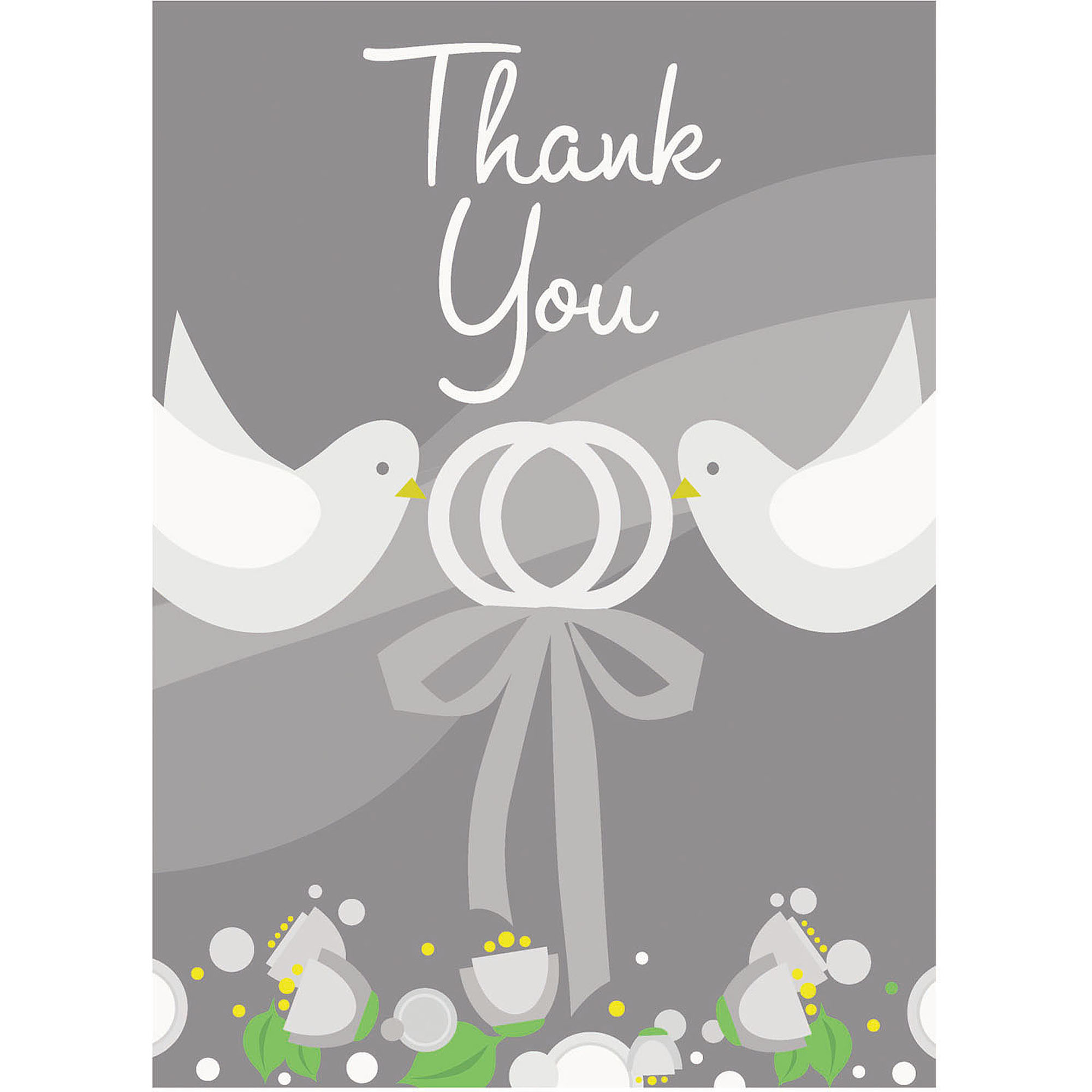 Silver Wedding Thank You Notes, 8pk