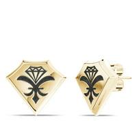 UFC Stud Earrings In 14K Yellow Gold Design by BIXLER