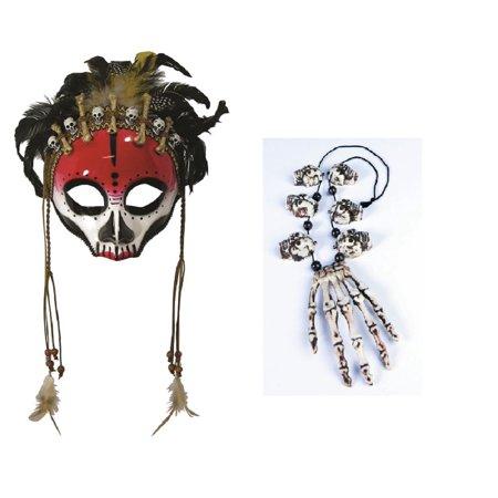 Black Magic Voodoo Face Mask Skull Bones Necklace Sorcerer Costume Accessory Set (Voodoo Mask)