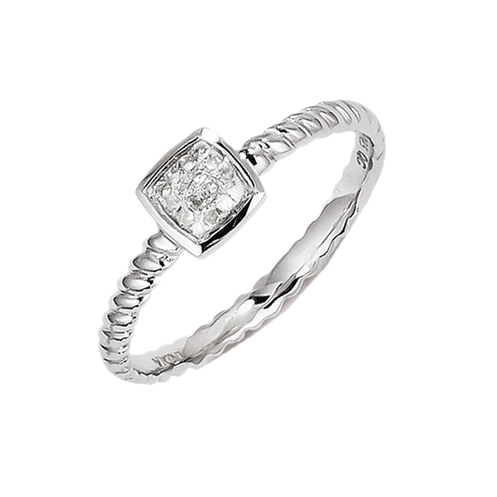 Stackable Expressions 925 Sterling Silver Square Stackabl...