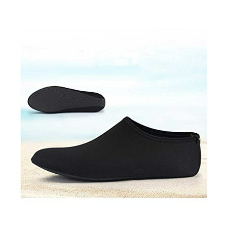Barefoot Water Skin Shoes, Epicgadget(TM) Quick-Dry Flexible Water Skin Shoes Aqua Socks for Beach, Swim, Diving, Snorkeling, Running, Surfing and Yoga Exercise (Black, XL. US 9-10 EUR (Nylon Water Shoes)