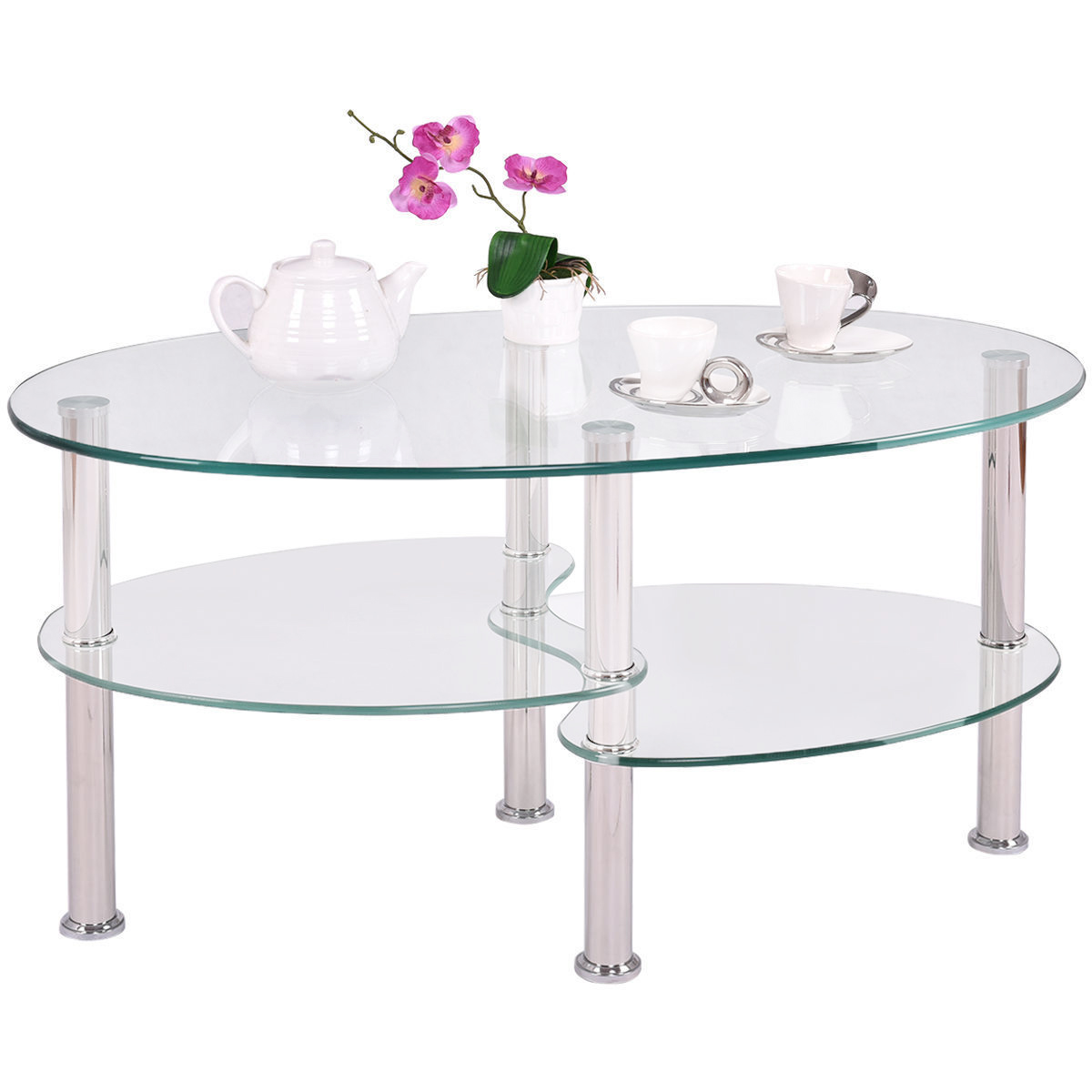 Ktaxon 3-Tier Tempered Glass Shelf Oval Side Coffee Table End Table Living Room NEW