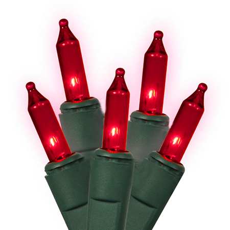 "Set of 50 Red Everglow Mini Christmas Lights 2"" Bulb Spacing - Green Wire"
