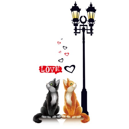 Unique Bargains Room Decor Cat Street Lamp Pattern Wall Sticker Decal Wallpaper](Halloween Cats Wallpaper)