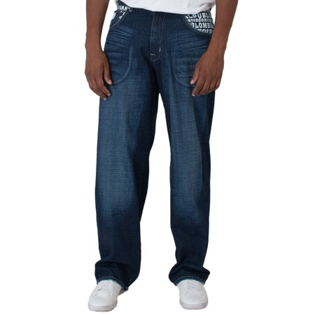Blanco Label Men's Loose Fit Denim Jeans Dark Blue Washed & Embroidery Pockets