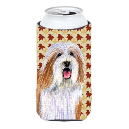 Carolines Treasures LH9105TBC Bearded Collie Fall Leaves Portrait Tall Boy   Hugger - image 1 of 1