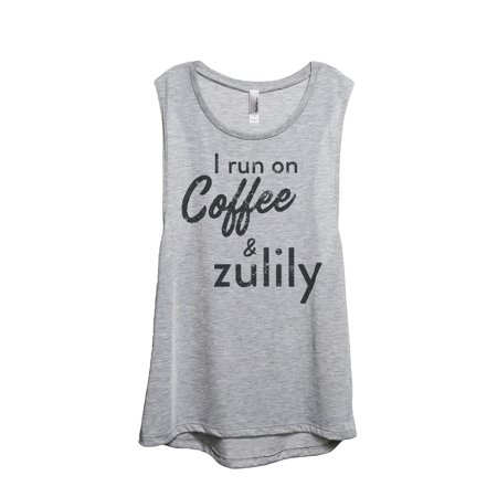 Thread Tank I Run On Coffee And Zulily Womens Sleeveless Muscle Tank Top Sport Grey Small